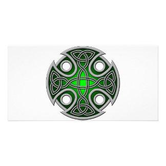St. Brynach's Cross green and grey Custom Photo Card