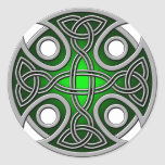 St. Brynach's Cross green and grey Classic Round Sticker