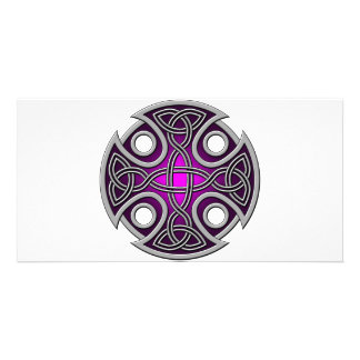 St. Brynach's Cross purple and grey Personalized Photo Card