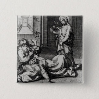 St. Catherine Exorcising a Demon from a Woman 15 Cm Square Badge