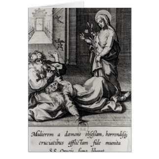 St. Catherine Exorcising a Demon from a Woman Greeting Card