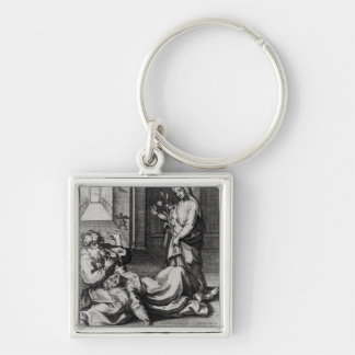 St. Catherine Exorcising a Demon from a Woman Key Ring