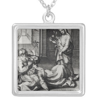 St. Catherine Exorcising a Demon from a Woman Square Pendant Necklace