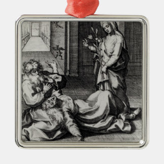 St. Catherine Exorcising a Demon from a Woman Silver-Colored Square Decoration