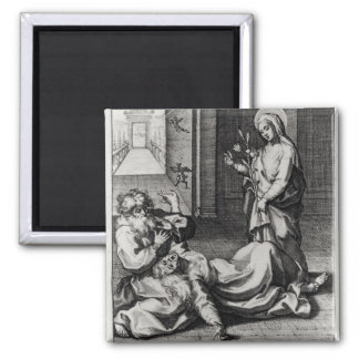 St. Catherine Exorcising a Demon from a Woman Square Magnet