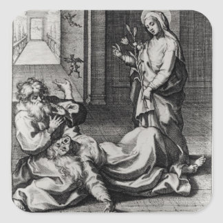 St. Catherine Exorcising a Demon from a Woman Square Sticker