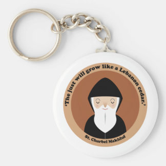 St. Charbel Makhluf Basic Round Button Key Ring