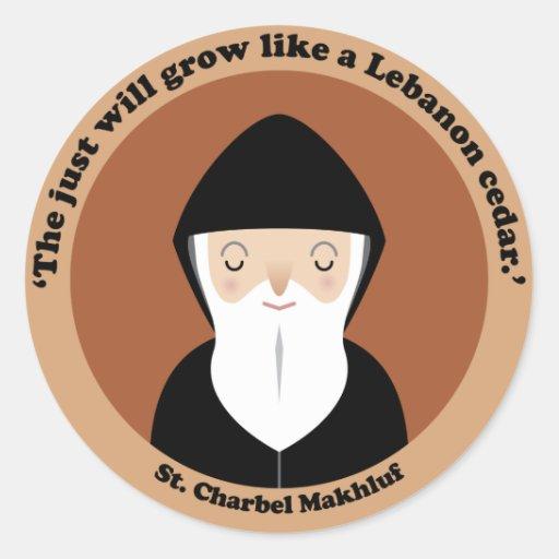 St. Charbel Makhluf Round Stickers