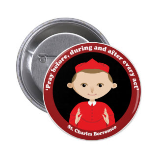 St. Charles Borromeo 6 Cm Round Badge