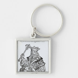 St. Charles  from 'Liber Chronicarum' Silver-Colored Square Key Ring