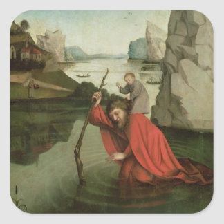 St. Christopher Carrying the Christ Child Square Sticker