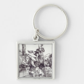 St.Christopher carrying the Infant Christ, 1511 Silver-Colored Square Key Ring