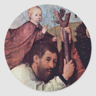 St. Christopher [Detail].,  By Hieronymus Bosch (B Classic Round Sticker