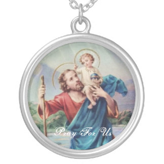 St Christopher Silver Plated Necklace