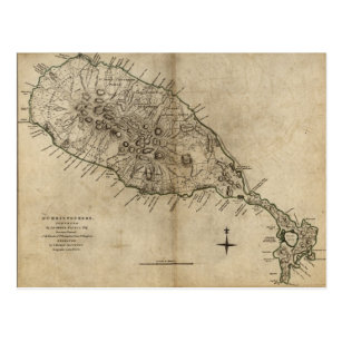 St. Christopher (St. Kitts), Caribbean Map Postcard
