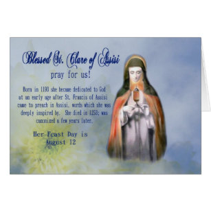 Catholic feast days gifts gift ideas zazzle uk st clare feast day greeting card or name day m4hsunfo