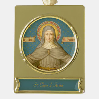 St. Clare of Assisi (SAU 027) Gold Plated Banner Ornament