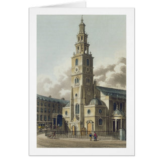 St. Clement Danes Church, pub. by Rudolph Ackerman Card