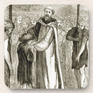 St. Columba blesses a wild boy, from 'The Trias Th Beverage Coasters