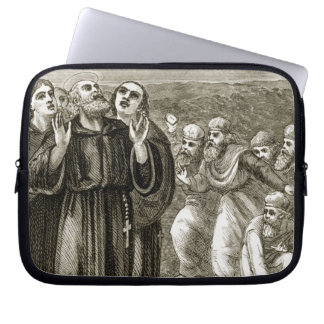 St. Columba chanting, and attacked by the Druids, Laptop Computer Sleeves
