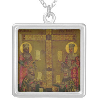 St. Constantine and St. Helena Silver Plated Necklace