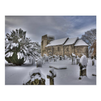 St Cuthbert's in the snow Postcard