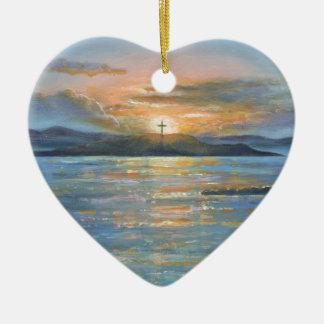St.Cuthbert's Isle Ceramic Heart Decoration