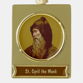 St. Cyril the Monk (M 002) Gold Plated Banner Ornament