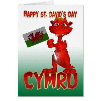 St David s Day Card - Welsh Dragon Welsh Flag