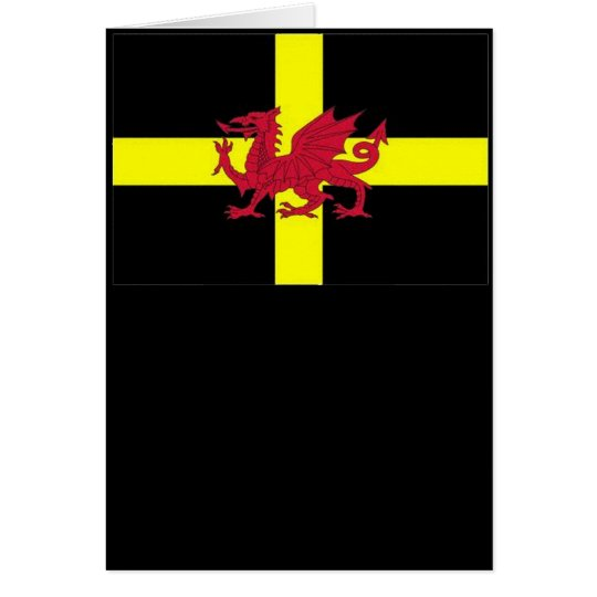 St Davids Cross with Dragon Greeting Card