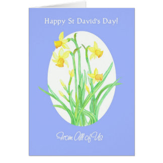 St David's Day Daffodils Card, From All of Us Greeting Card