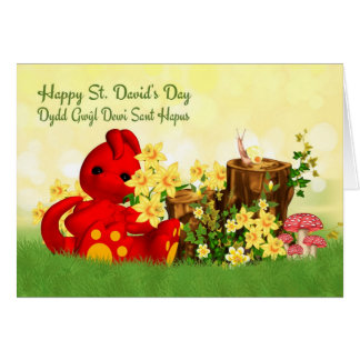 St. David's Day Greeting Cute Dragon & Daffodills Greeting Card