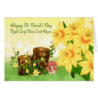 St. David's Day Greeting With Forest Plants And Da Greeting Card