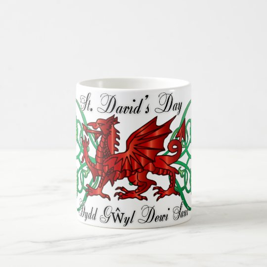 St. David's Day Mug With Welsh Dragon Daffodil