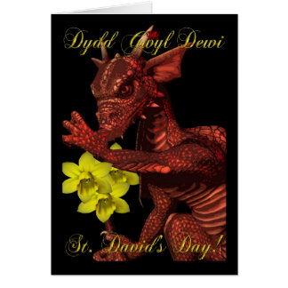 St Davids Day red Dragon Dydd Gwyl Dewi Greeting Card