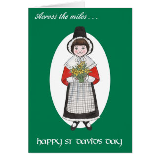 St David's Day, Welsh Costume, Across the Miles Greeting Card