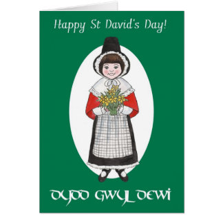 St David's Day, Welsh Costume, Bilingual Card