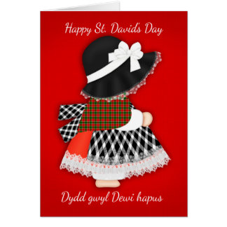 St. David's Day Welsh Doll, Greeting Card