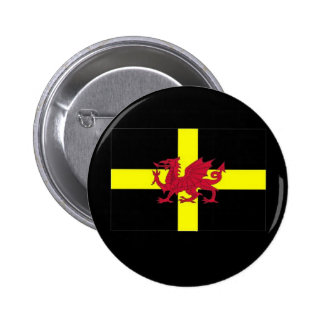 St Davids Day with Dragon 6 Cm Round Badge