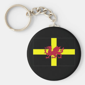 St Davids Day with Dragon Basic Round Button Key Ring