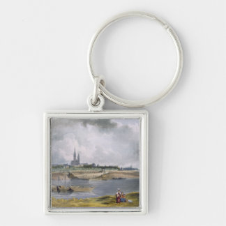 St. Denis, from 'Views on the Seine', engraved by Silver-Colored Square Key Ring