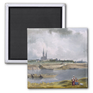 St. Denis, from 'Views on the Seine', engraved by Square Magnet