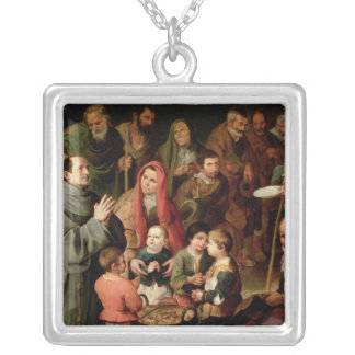 St. Diego of Alcala Giving Food to the Poor Silver Plated Necklace