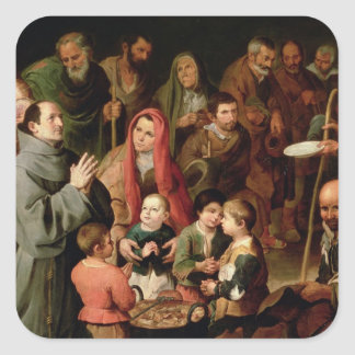 St. Diego of Alcala Giving Food to the Poor Square Sticker