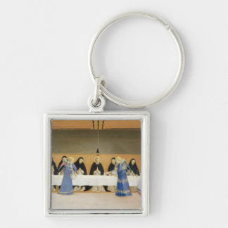 St. Dominic and his Companions Fed by Angels Silver-Colored Square Key Ring