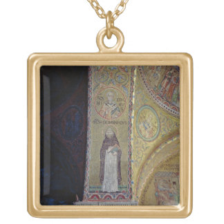 St. Dominic and St. Nicholas, mosaic in the atrium Gold Plated Necklace