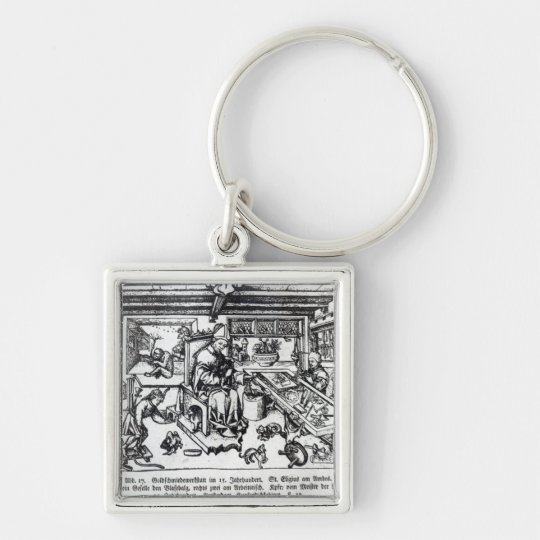 St. Eligius  as a goldsmith in his workshop Silver-Colored Square Key Ring