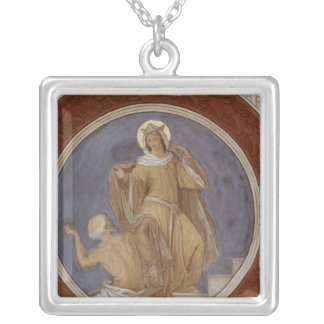 St. Elisabeth giving her Coat to a Beggar Silver Plated Necklace