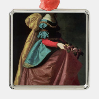 St. Elizabeth of Portugal  1640 Silver-Colored Square Decoration