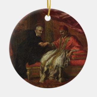 St. Filippo Neri Curing Pope Clemente VIII Round Ceramic Decoration